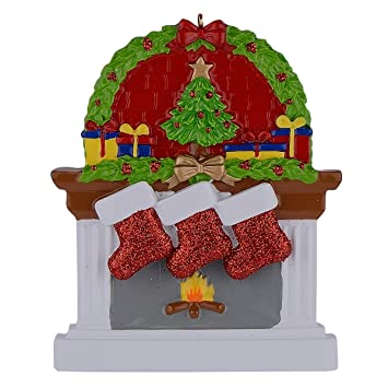 Personalized Fireplace Stockings Family Ornaments of 3 Christmas Gifts
