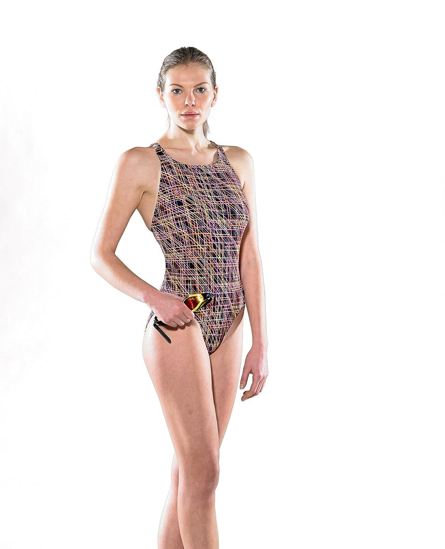 Maru Lindos Pacer Badeanzug Damen Tek - Back, black - neon Größe 40