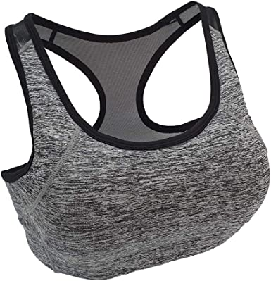 Womens Racerback Sports Bra High Impact Remoable Padded Medium Support Activewear Bra for Gym Workout Fitness Running Yoga