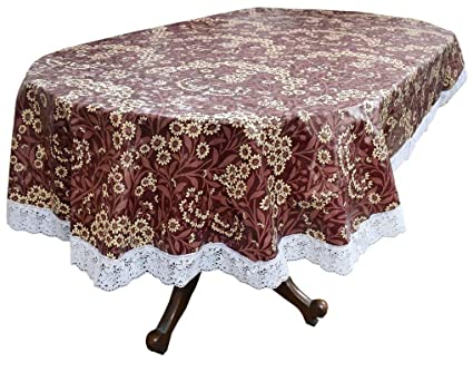 Stylista 6 Seater Table Cover Oval Shaped WxL 54x78 inches with White Border lace
