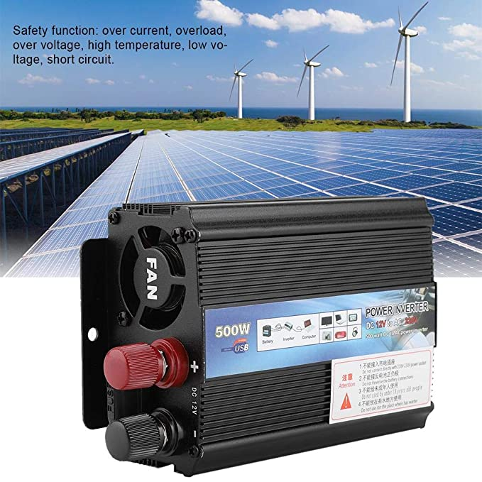 FTVOGUE Solar Power Inverter 12v a 220v / 110V 500W Car ...