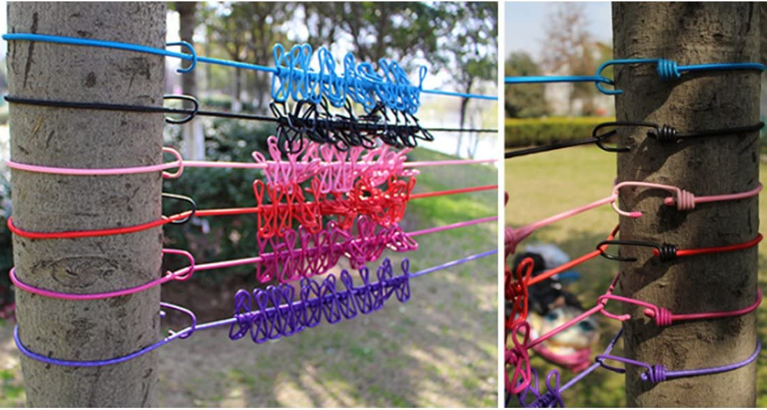 W23 Travel Elastic Clothesline Adjustable Clothesline with 12pcs Clothespins for Outdoor and Indoor Use Blue
