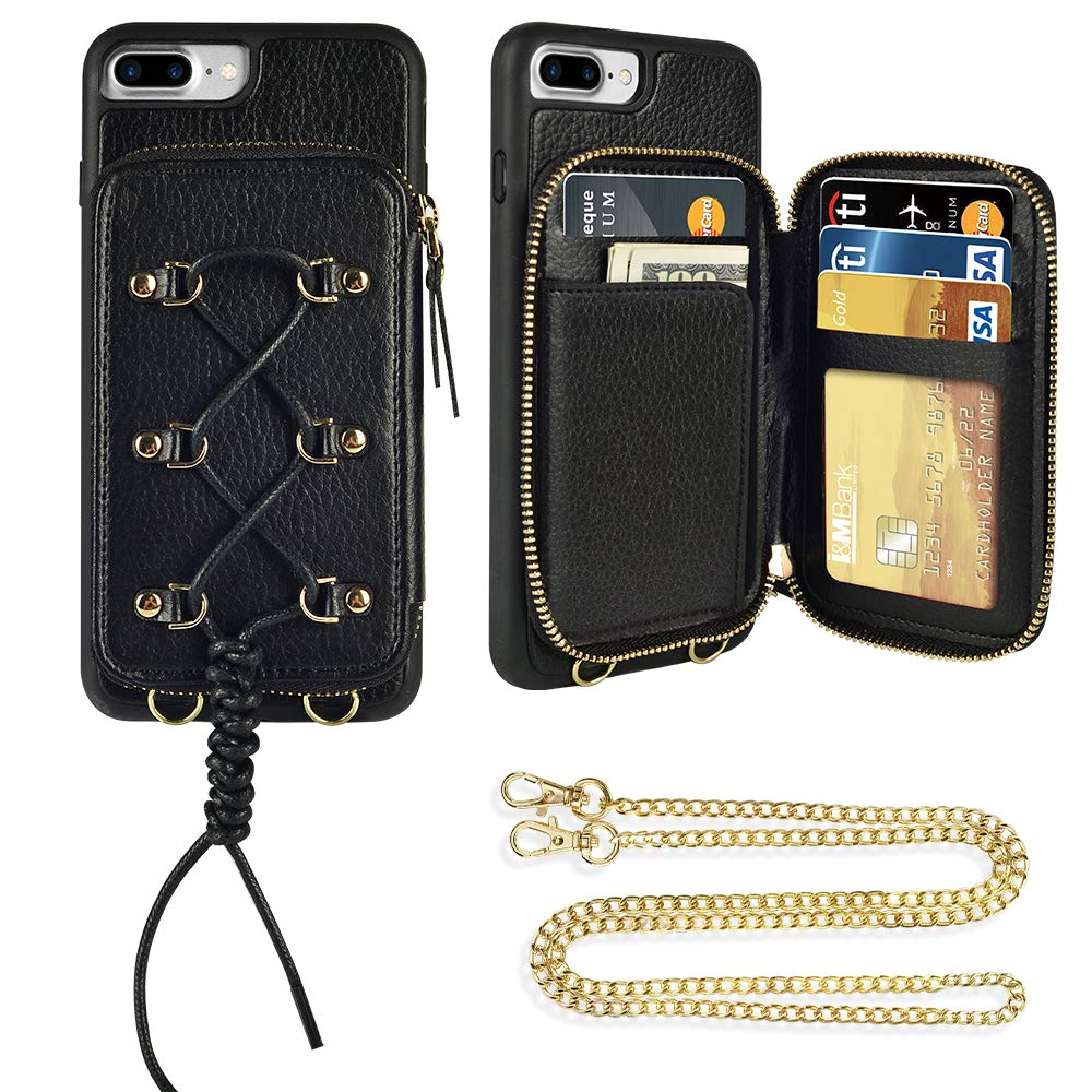 ZVE iPhone 7 Plus Wallet Case Case for iPhone 8 Plus, Zipper Leather Case with Card Holder Wrist Strap Crossbody Strap Handbag Purse Protective Cover for iPhone 7 Plus and 8 Plus, 5.5 inch - Black by ZVE