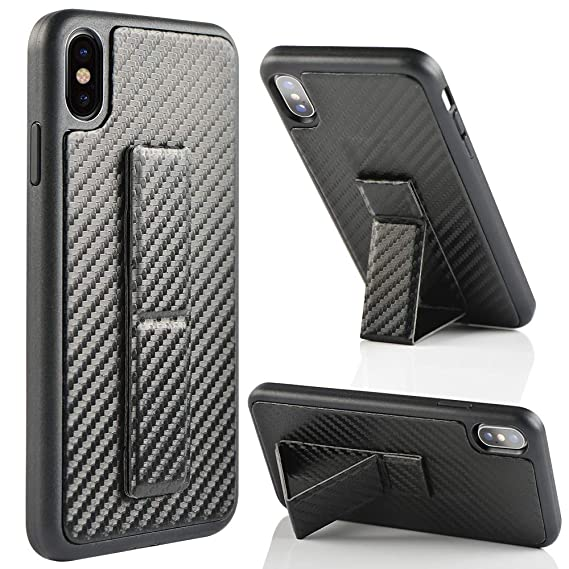 brand new 7dc1e 1d117 ZVEdeng iPhone Xs Max Case, iPhone Xs Max Case with Stand Shockproof  Vertical and Horizontal Kickstand Hand Strap Magnetic Stand Carbon Fiber  Slim ...