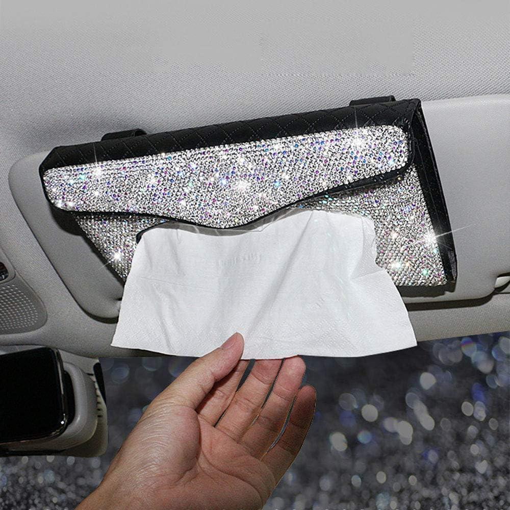 U/&M Bling Bling Car Tissue Box Holder Purple Crystal Sparkling Sun Visor Napkin Holder PU Leather Backseat Tissue Case Car Accessories for Women