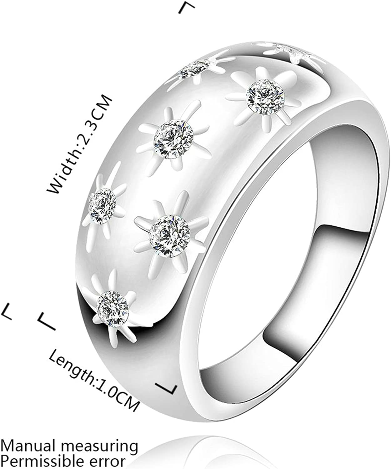 Gnzoe Jewelry,Silver Plated Fashion Cubic Zirconia Engagement Ring Wedding Bands for Womens