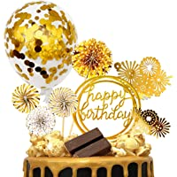 MOVINPE Gold Cake Topper Cake Decoration Happy Birthday Paper Fans Banner Confetti Balloon Fireworks Golden Cupcake Topper for Gold Theme Party Decor Girl Boy Kid Women Man