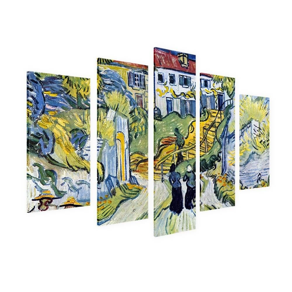 Alonline Art - Stairway At Auvers by Vincent Van Gogh | framed stretched canvas on a ready to hang frame - 100% cotton - gallery wrapped | 42''x28'' - 107x71cm | 5 Panels split | Wall art home decor