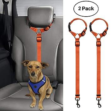 volila Dog Seat Belt 2 Pack Dog Cat Car Safety Seat Belt Harness Adjustable Leads Harness for Cars Vehicle