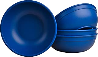 """product image for Re-Play Made in USA Recycled Products, Set of 4 (5.75"""" Heavy Duty Dining Bowl, Navy) Great for Outdoor, Camping, Party, Tailgating or Everyday Dining"""