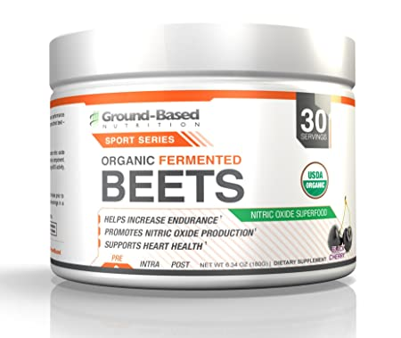 Ground-Based Nutrition Certified Organic Fermented Beet Powder, Nitric Oxide Superfood Created with Endurance Athletes in Mind, Increases Energy, Boosts Stamina, Performance, No Added Sugar, 30 svgs