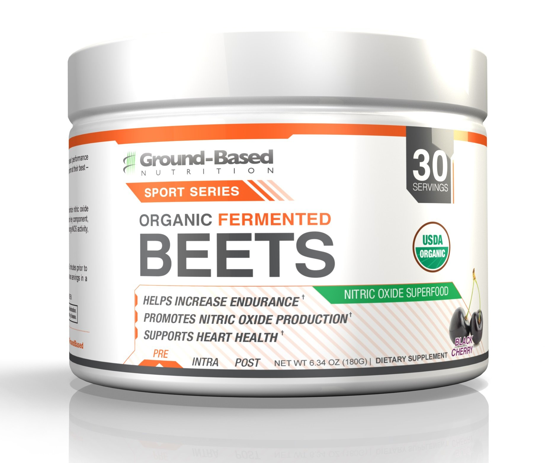 Ground-Based Nutrition Certified Organic Fermented Beet Powder, Nitric Oxide Superfood: Created with Endurance Athletes in Mind, Increases Energy, Boosts Stamina, Performance, No Added Sugar, 30 svgs