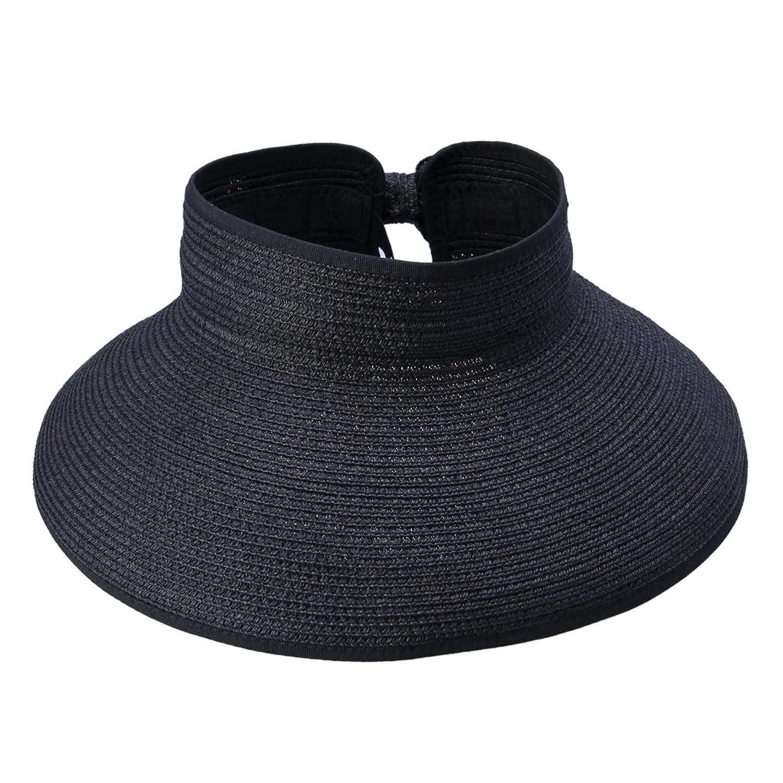 JTC Womens Ladies Straw Hat Wide Brim Roll-up Sun Visor Black