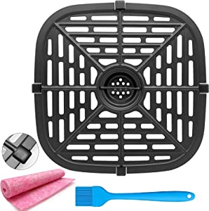Air Fryer Grill Pan Replacement Parts, Premium Square Grill Crisper Plate Tray Non-Stick Coating Air Fryer Accessories Rack with Rubber feet for PowerXL Gowise and More Air Fryer, Dishwasher Safe