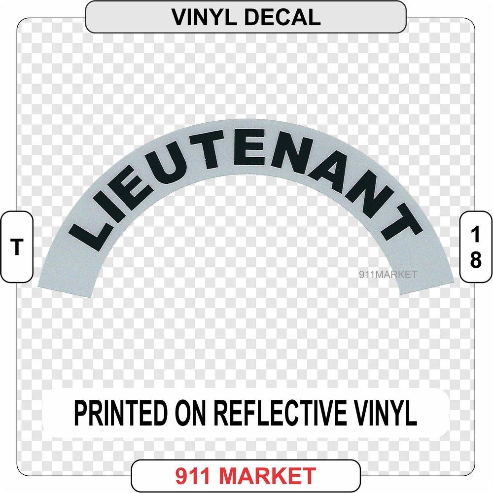 911 Market Lieutenant Firefighter Reflective Vinyl Sidebar Sticker Helmet Decal - T 18