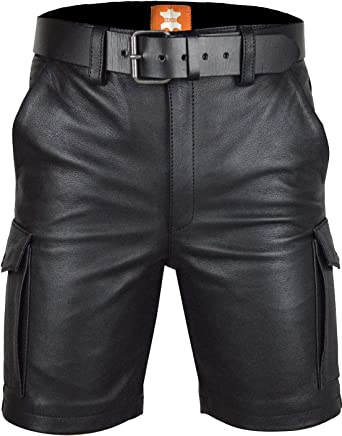 Men/'s Real Leather Carpenter Shorts With Cargo Pockets Carpenter Shorts