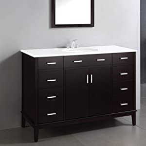 SIMPLIHOME Urban Loft 48 inch Contemporary Bath Vanity in Tobacco with White Engineered Quartz Marble Top