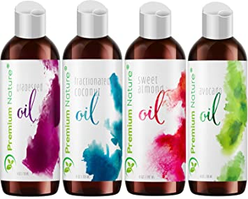 Carrier Oils For Essential Oil - 4 Piece Variety Pack Gift Set Coconut Oil  Grapeseed Oil Avocado Oil &