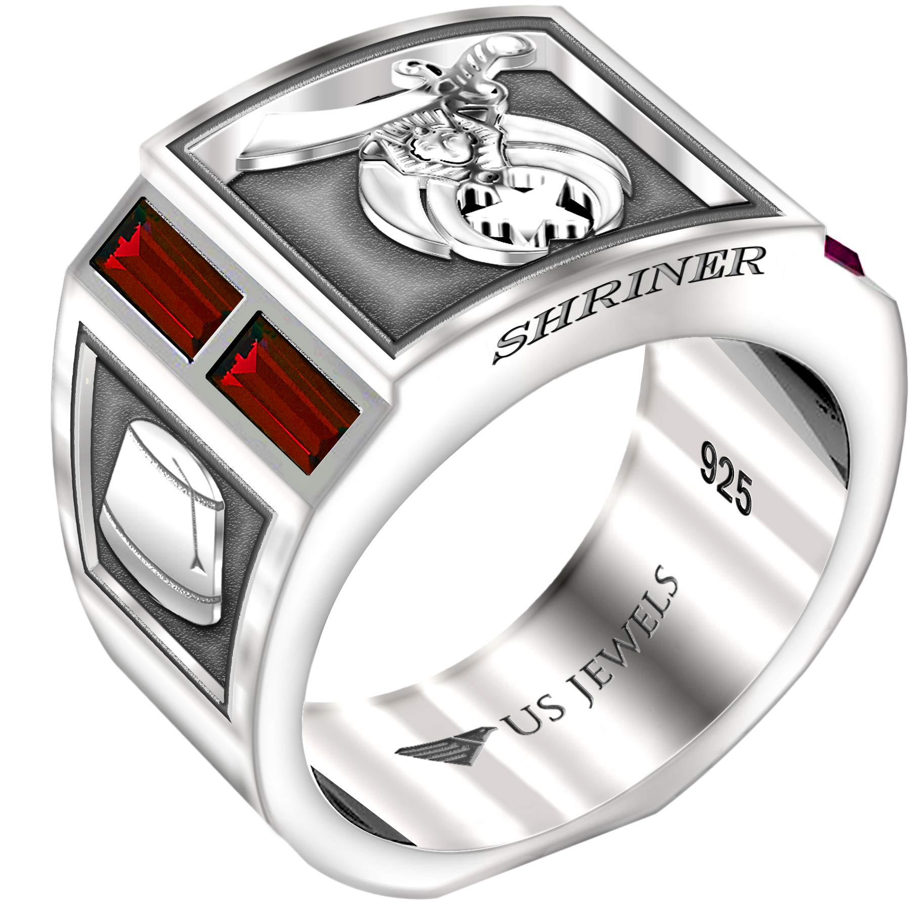 US Jewels And Gems Men's Shriner 0.925 Sterling Silver Simulated Ruby Freemason Masonic Ring, Size 9.5