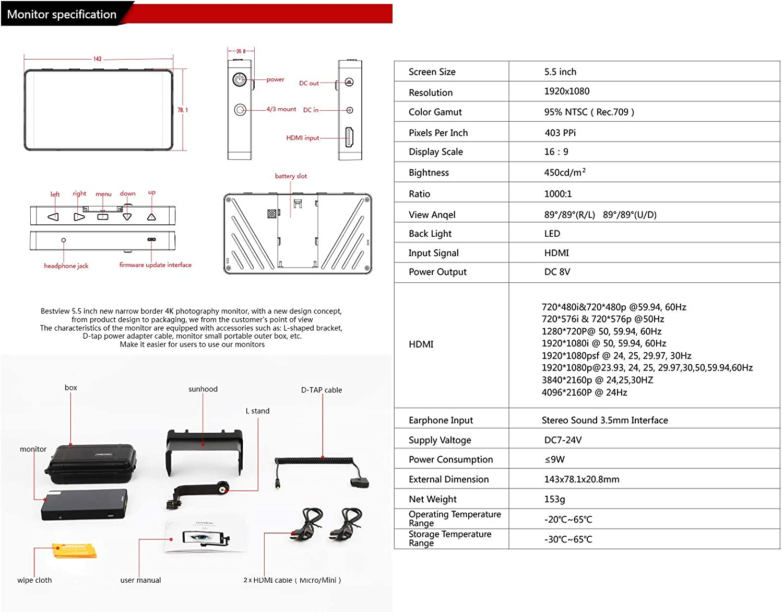 S5-B Bestview S5 5.5inch 1920x1080 4K HDMI Screen HD DSLR Camera Field Monitor Video for Canon Nikon Sony A7 A7R A7S III A9 Panasonic GH5 GH5s Zhiyun Crane 2 M DJI Ronin-S
