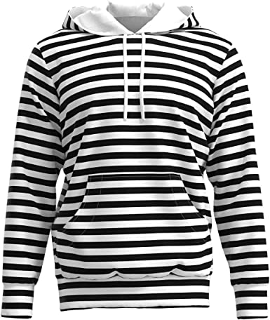 EightyThree XYZ Black White Horizontal Stripes Line Women Pullover Hoodie Sweatshirt XS-3XL