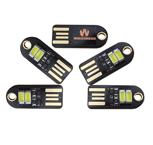9 opinioni per WINGONEER 5pezzi Mini LED Night USB luce bianca della lampada LED, temperatura