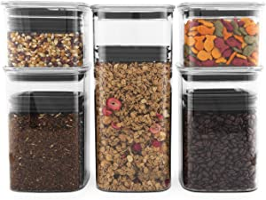 Airscape Lite Plastic Airtight Food Storage Canister Set - Patented Airtight Lid Preserves Food Freshness, Clear Containers (5 Pack - 32, 64 and 96 oz)