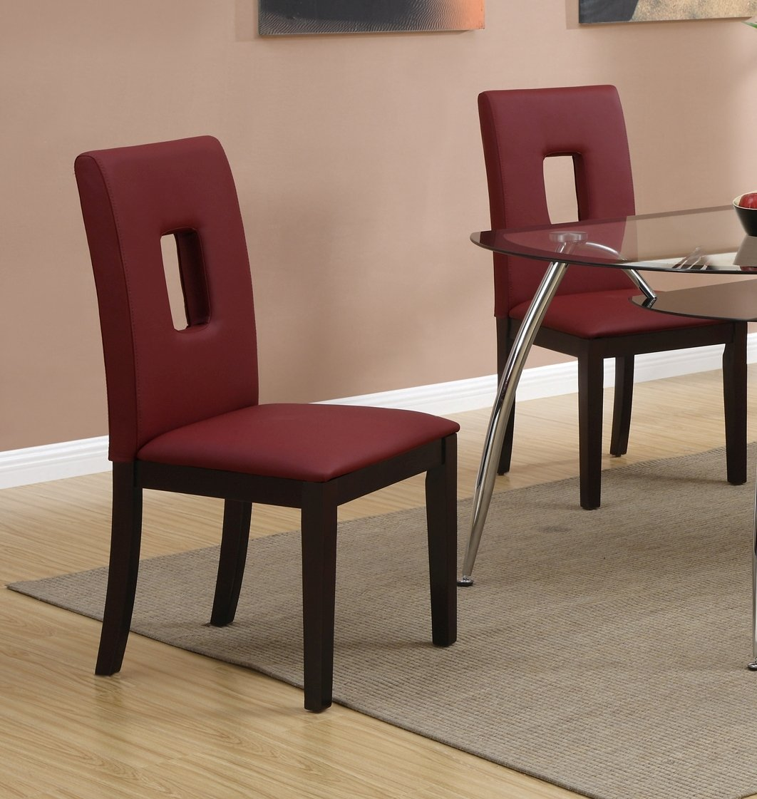 Amazon.com   Parson Dining Chairs Set Of 2 Red Leather By Poundex   Chairs
