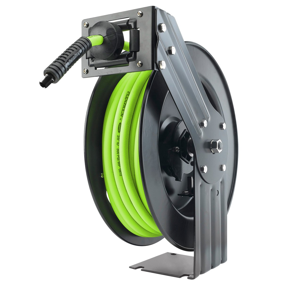 Flexzilla Open Face Retractable Air Hose Reel, 3/8 in. x 50 ft., Heavy Duty, Lightweight, Hybrid, ZillaGreen - L8611FZ by Flexzilla (Image #1)