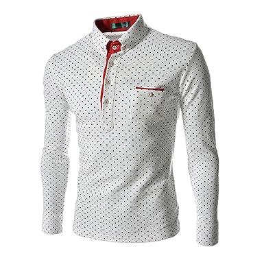 WSLCN Homme Chic Polo Décontracté Shirt de Loisir Manches Longues À Pois  Moulant Blanc FR XS 21bc5751982a