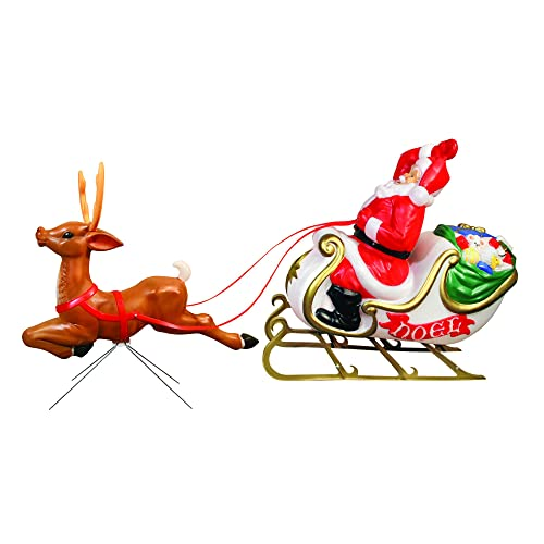 Santa with Sleigh and Reindeer - Santa And Reindeer Outdoor Decorations: Amazon.com