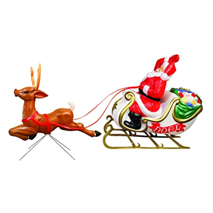 amazon com santa with sleigh and reindeer collectible figurines