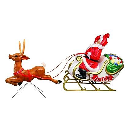 santa with sleigh and reindeer - Santa With Reindeer