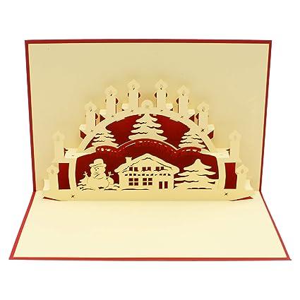 Tarjeta 3D con diseño de casa en invierno, tarjeta de ...