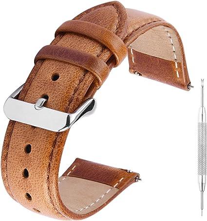 Gerbgorb Vintage Lederarmband Uhrenarmband Für 18mm 20mm 22mm Pflanzlich Gegerbtes Schnellwechsel Ersatzarmband Sport Freizeit