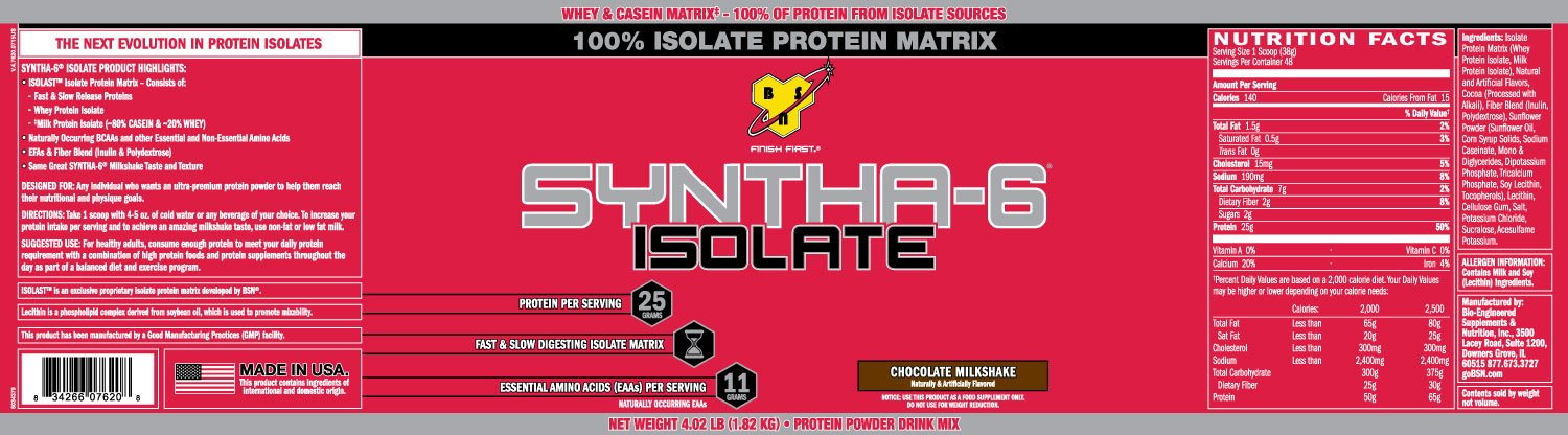 BSN Syntha 6 Isolate Choc Milk 1820g: Amazon.es: Salud y cuidado personal