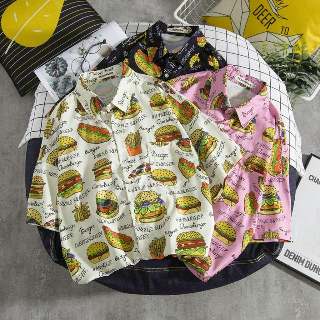 TOTAMALA Mens Shirt Summer Fashion Burger Print Casual Short Sleeve Beach Top Loose Casual Shirt M//2XL