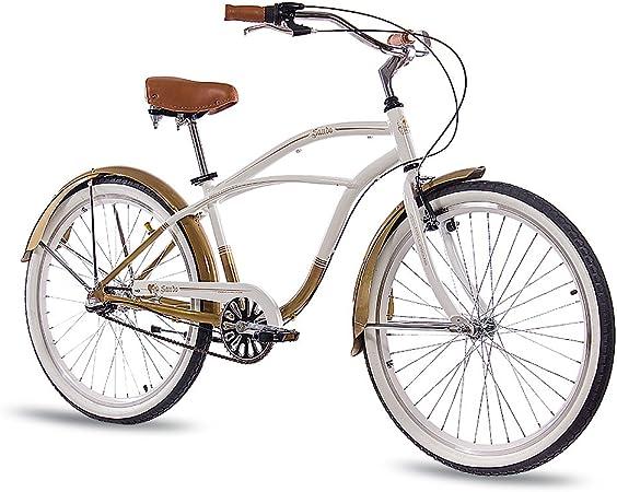 26 pulgadas aluminio showbike Hombre Bicicleta CHRISSON Sando con 3 marchas Shimano Nexus Blanco Oro: Amazon.es: Deportes y aire libre