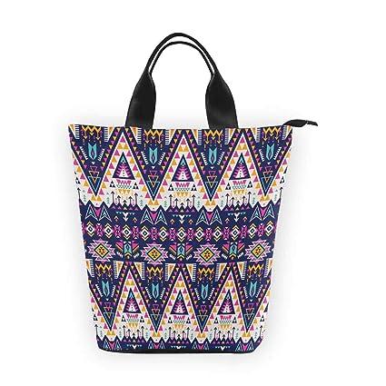 f9c3699b4dd5d Amazon.com: Bjiansoah Nylon Cylinder Lunch Bag Pink Tribal Aztec ...