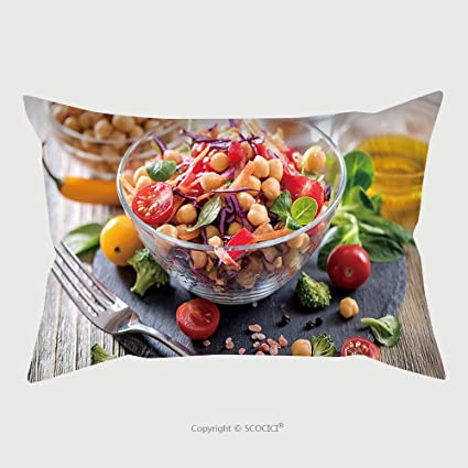 Funda de almohada de microfibra Custom pantalla saludable Chickpea Vegan Salad dieta vegetariana vegana alimentos vitamina