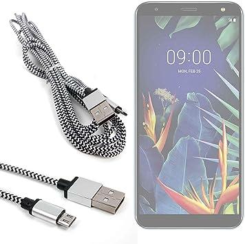 DURAGADGET Cable USB a Micro USB Trenzado en Color Plata y Negro ...