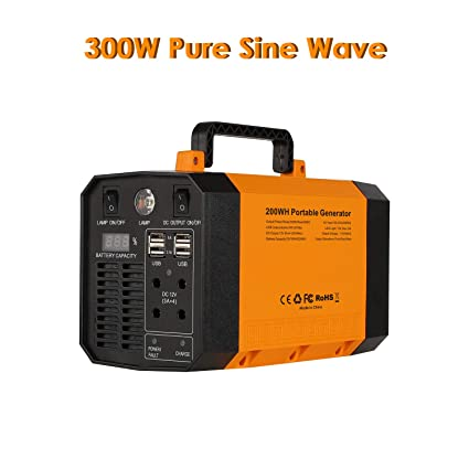 EasyFocus Portable Power Station 200Wh Solar Generator 300W Pure