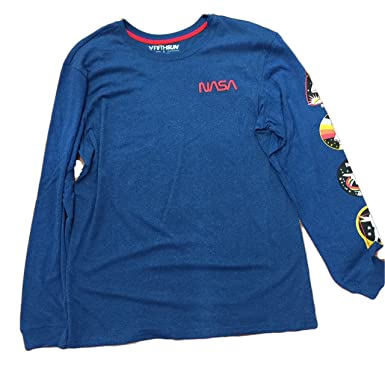 bd09bc646 Amazon.com: NASA Worm Spaceman Space Men's Long Sleeve Double Sided ...