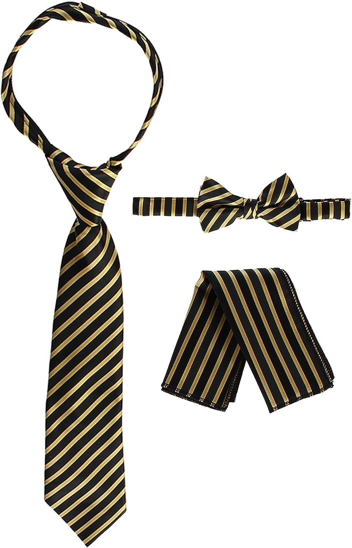 Gioberti Kids and Boys Stripe Zipper Tie Bow Tie and Handkerchief Set