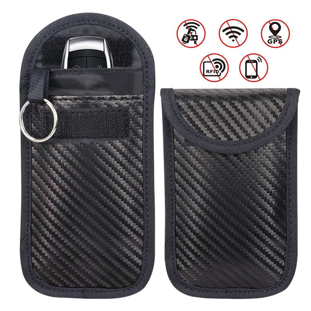 2 X Keyless Car Key Signal Blocker Case, Enterin Keyless Remotes Control Entry Fob Pouches,Lock Device Protector, Anti Theft Credit Card, Protection Security Bag Blocks RFID/WIFI/GSM/LTE/NFC