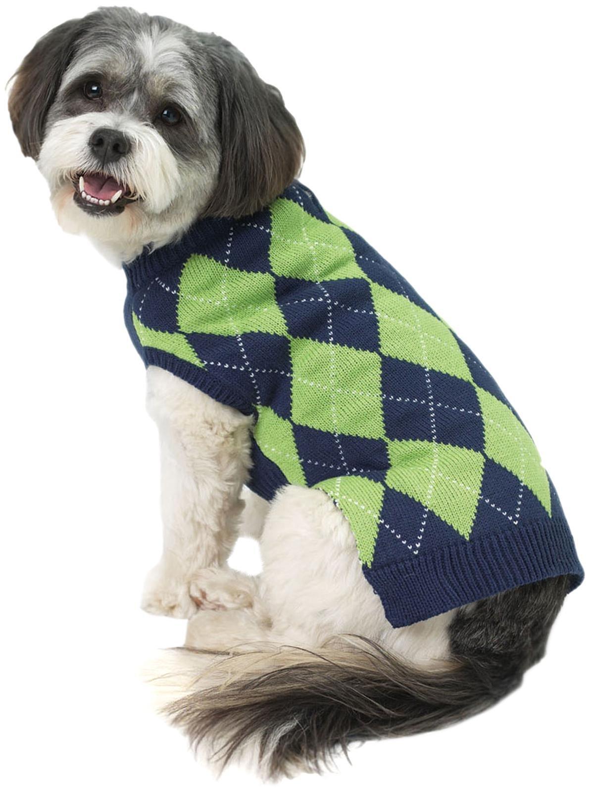 Petrageous Designs Alex?S Argyle Sweater - Navy/Lime - X-Small