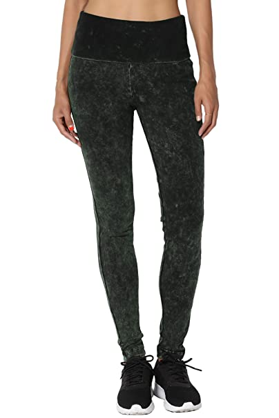 1468459ef71df TheMogan Women's Mineral Acid Wash Skinny Leg Sweat Yoga Pants Hunter Green  S
