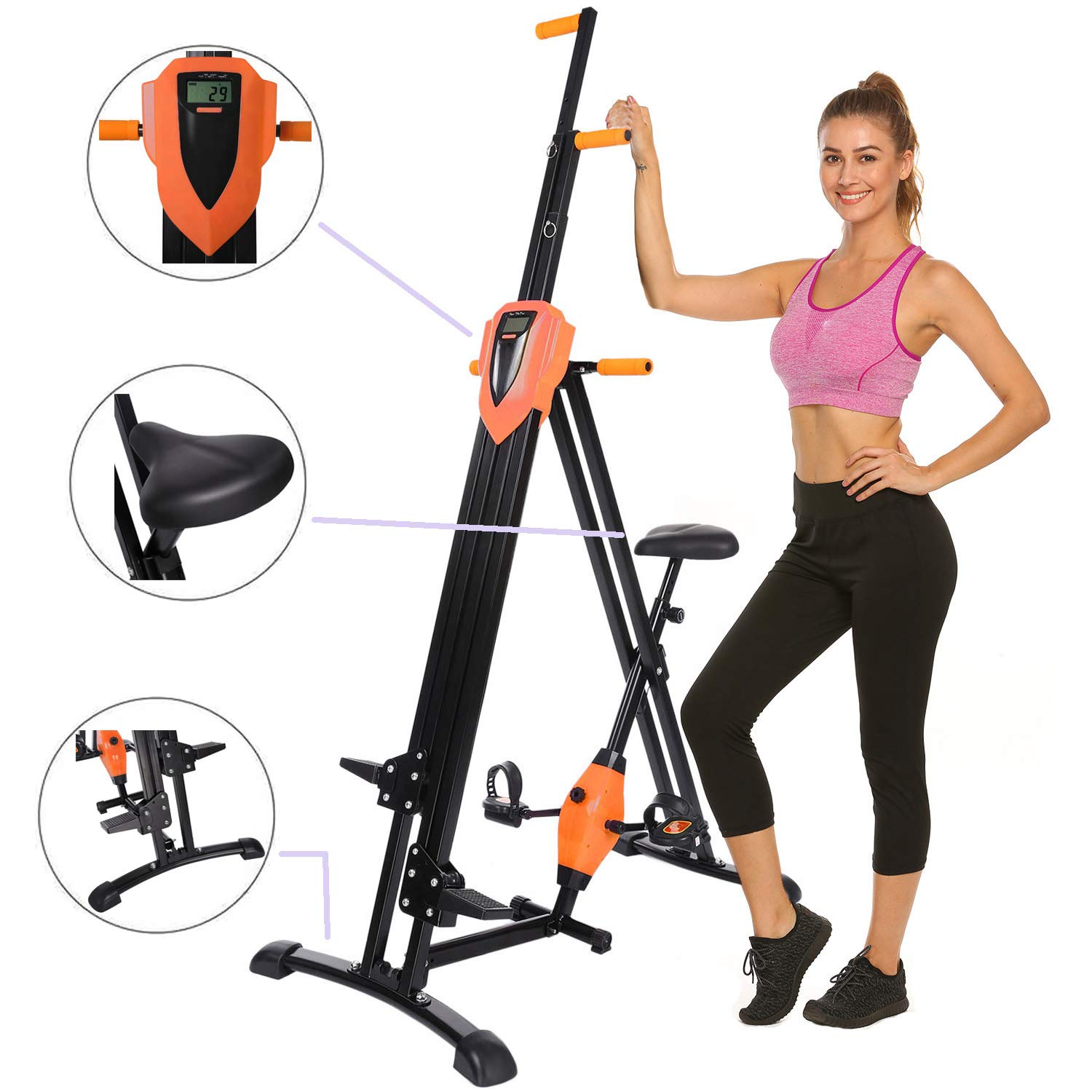 Hurbo Elliptical Exercise Machine, Top Levels Elliptical Machine Fitness Workout Cardio, Magnetic Smooth Quiet Driven Eliptical Trainer Machine with LCD Monitor and Pulse Rate Grips (Orange)