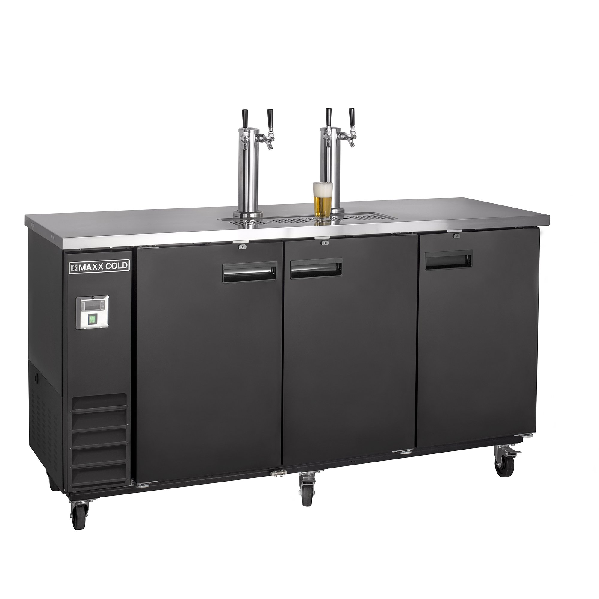 Maxx Cold MXBD72-2B Commercial NSF Bar Direct Draw Kegerator Beer Dispenser Cooler with 2 Towers Taps Holds 3 Half 1/2 Size Kegs, 73.1 Inch Wide 17.3 Cubic Feet , Black