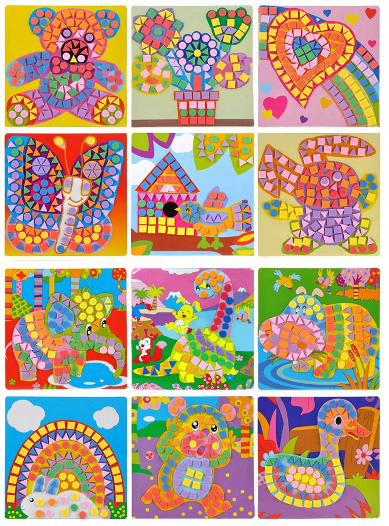 Biowow Animal Sticky Mosaics Art and Craft Kits for Kids,12 Packs